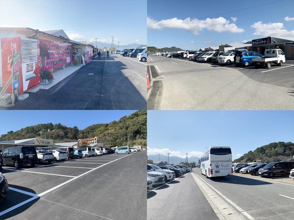 船越漁港カキ小屋の広大な駐車スペース