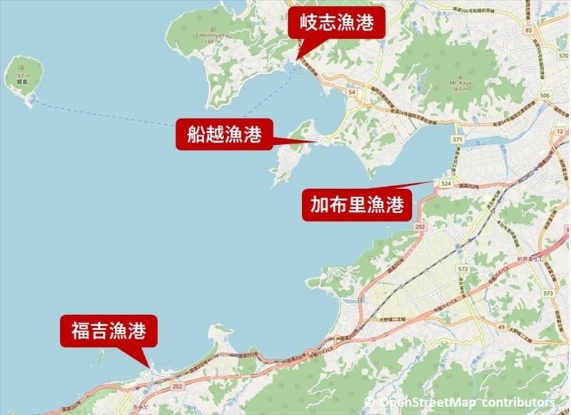 糸島カキ小屋マップ
